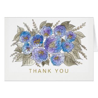 Watercolor Floral Blue Rose Gold Generic Thank You Card