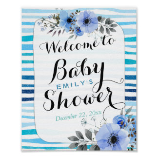 Watercolor Floral Blue Stripes Baby Shower Welcome Poster