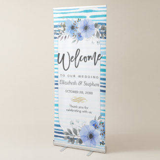Watercolor Floral & Blue Stripes Wedding Welcome Retractable Banner