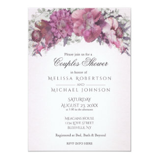 Watercolor Floral Blush Couples Shower Card