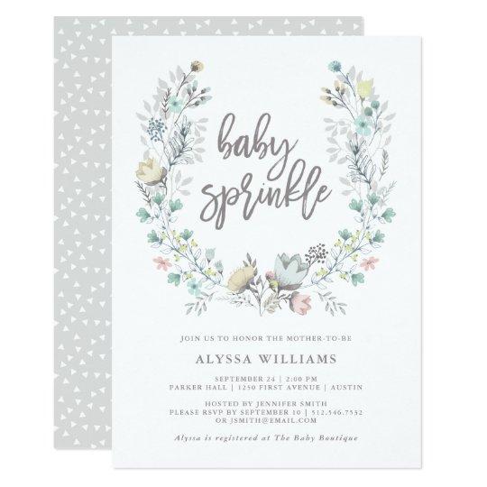 Watercolor Floral Botanical Wreath | Baby Sprinkle Card