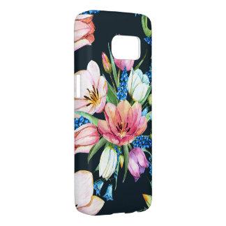 watercolor floral bouquet on black samsung galaxy s7 case