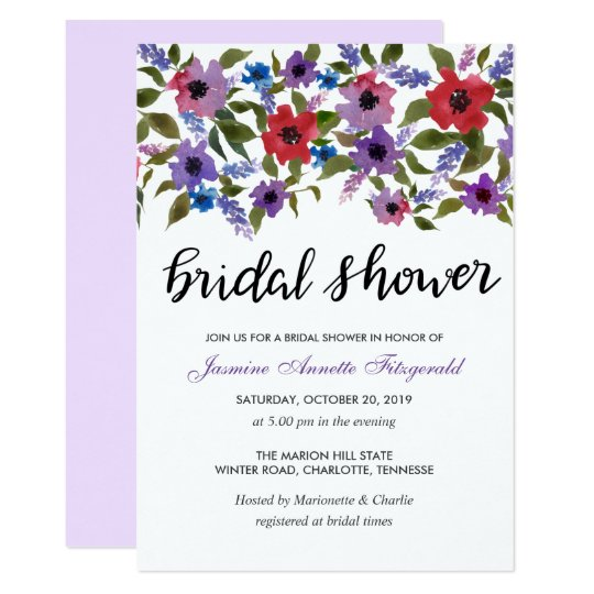 Watercolor Floral Bunch Bridal Shower Card
