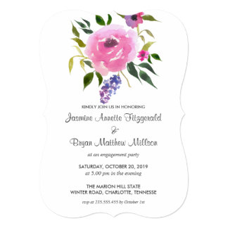 Watercolor Floral Bunch Engagement Party Card