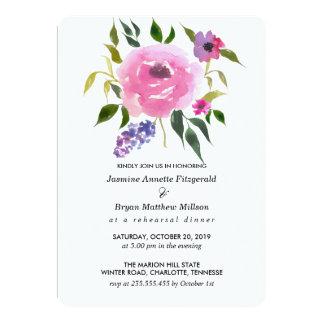 Watercolor Floral Bunch Rehearsal Dinner Card