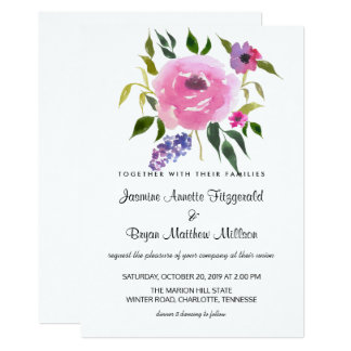 Watercolor Floral Bunch Wedding Chic Card