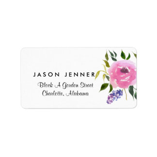 Watercolor Floral Bunch Wedding Chic Label
