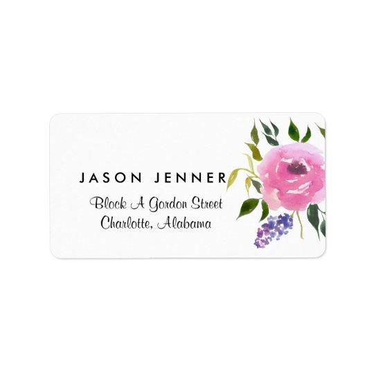 Watercolor Floral Bunch Wedding Chic Label