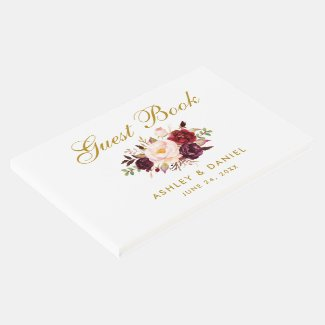 Watercolor Floral Burgundy Gold Wedding Guest Book