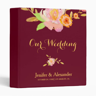 Watercolor floral burgundy peach autumn wedding 3 ring binder