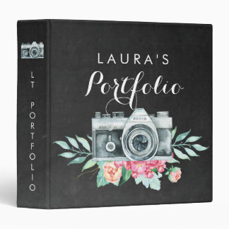 Watercolor Floral Camera Photography Portfolio Vinyl Binders