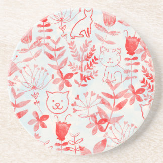 Watercolor Floral & Cats Drink Coasters