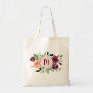 Watercolor Floral Chic Monogram Tote Bag