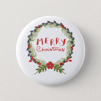 Watercolor Floral Christmas Wreath Button