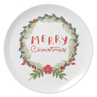 Watercolor Floral Christmas Wreath Dinner Plate