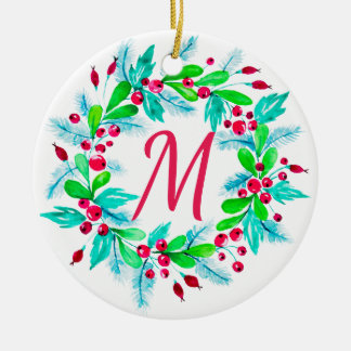 Watercolor Floral Christmas Wreath Monogram Ceramic Ornament