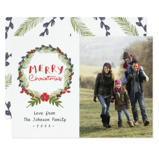 Watercolor Floral Christmas Wreath Photo Card