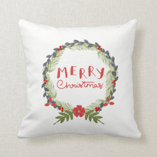 Watercolor Floral Christmas Wreath Throw Pillow