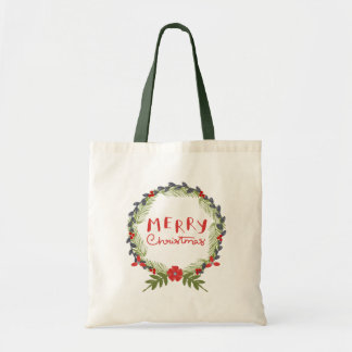 Watercolor Floral Christmas Wreath Tote Bag