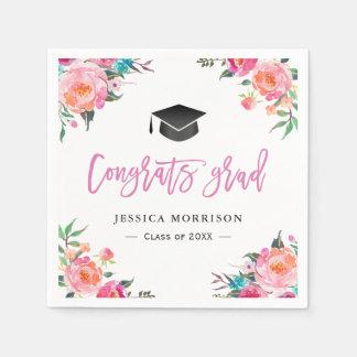 Watercolor Floral Congrats Grad Graduation Party Paper Napkins