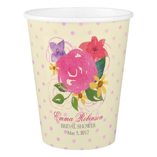 Watercolor Floral Custom Bridal Shower Cups Paper Cup