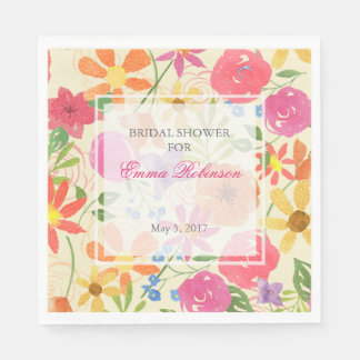 Watercolor Floral Custom Bridal Shower Napkins