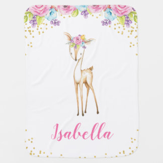 Watercolor Floral Deer Girl Baby Blanket