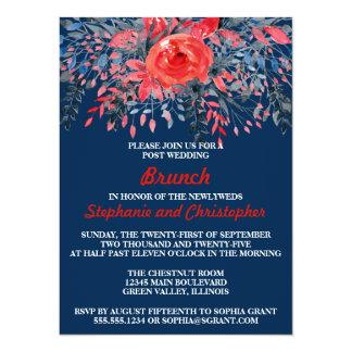 Watercolor Floral Denim Blue Red Rose Post Wedding Card