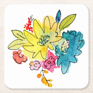 Watercolor floral design, home themed design square paper coaster
