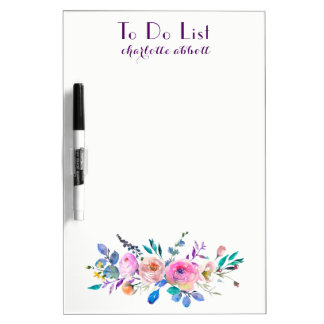 """Watercolor Floral Design """"To Do List"""" Dry Erase Board"""