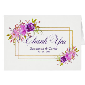 "Watercolor Floral Fall/Winter Wedding ""Thank You"" Card"