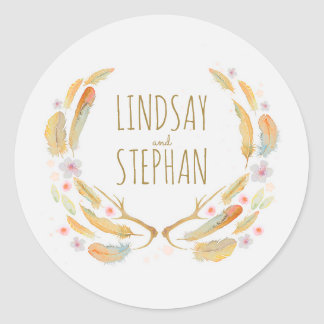 Watercolor Floral Feathers Antlers Rustic Wedding Classic Round Sticker