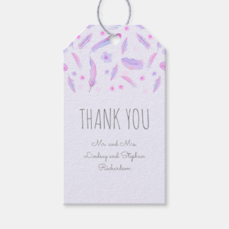 Watercolor Floral Feathers Boho Wedding Pack Of Gift Tags