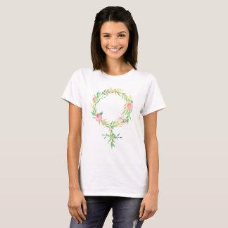 Watercolor Floral Feminism Venus Symbol T-Shirt