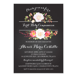 Watercolor Floral First Communion Invitations Boho