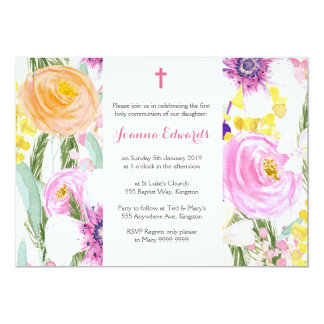 "Watercolor Floral First Communion Personalized 5"" X 7"" Invitation Card"