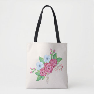Watercolor Floral Flower Bouquet Tote Bag