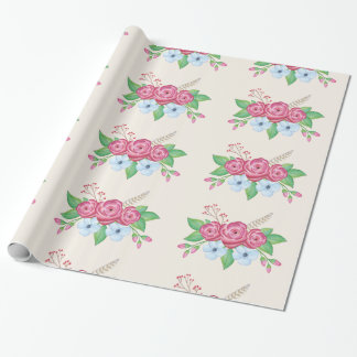 Watercolor Floral Flower Bouquet Wrapping Paper