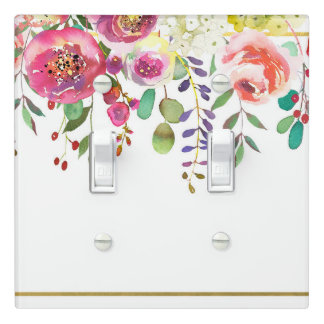 Watercolor Floral Flowers Modern Colorful Bold Light Switch Cover