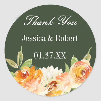 Watercolor Floral Forest Green Personalized Classic Round Sticker