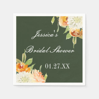 Watercolor Floral Forest Green Personalized Disposable Napkins