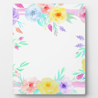 Watercolor floral frame in soft pastel colors