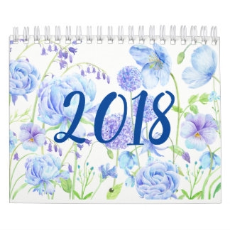Watercolor Floral Gardens Calendar 2018