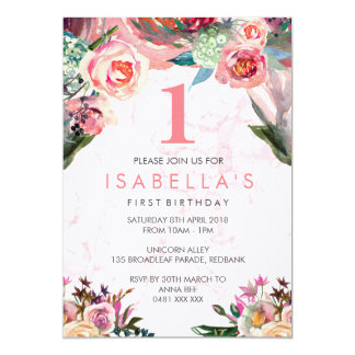 Watercolor floral girls birthday invitation