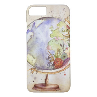 Watercolor Floral Globe Case