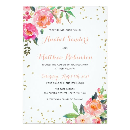 Watercolor Floral Gold Glitter Wedding Invitation