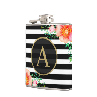 Watercolor Floral Gold Monogram Black White Stripe Hip Flask