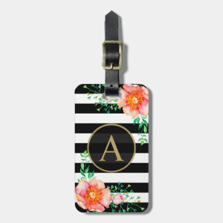 Watercolor Floral Gold Monogram Black White Stripe Luggage Tag