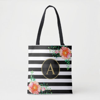 Watercolor Floral Gold Monogram Black White Stripe Tote Bag
