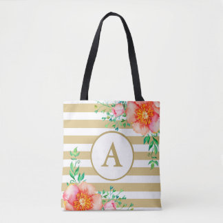 Watercolor Floral Gold Monogram Gold White Stripe Tote Bag